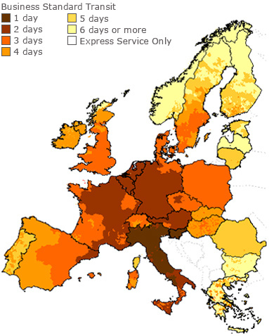 UPS Standard Shipping - Business Days in Transit Map